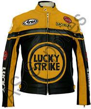 Lucky Strike Nuevo en Negro/Amarillo Cuero Biker Moto Chaqueta-Todas las Tallas!