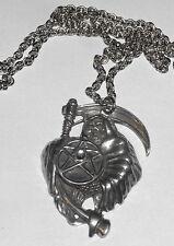 Pendentif en étain faucheuse collier pentagramme grim reaper & pentagram pendant