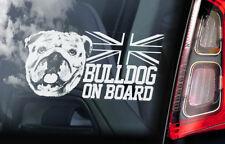 Bulldog on Board - Car Window Sticker -British English Bully Dog Sign Decal -V03