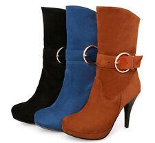Botines botas zapatos militares mujer talón 10.5 como piel cómodo caldi 9106