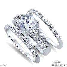 Princess Cut White Sapphire Fashion 925 Genuine Sterling Silver Three Ring Set