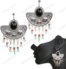 BLACK/RED/BLUE bali bead SILVER FASHION EARRINGS ethnic aztec CHANDELIER CLIPS