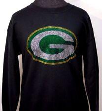 Green Bay Packers Ladies Rhinestone Bling Fan Art Sweatshirt Woman's (Size S-XL)