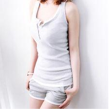 Ladies Low Cut Button Neck Vest Tank Top T-shirt Tee Stretch Slim Rib Sleeveless