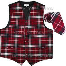 """New Vesuvio Napoli formal men's plaid Tuxedo Vest_2.5"""" Skinny Slim Necktie Red"""