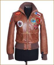 Top Gun Tan Ladies Aviator Style Short Real Lambskin Leather Designer Jacket