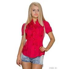 Elegante volantes blusa con manga corta rojo #bl192
