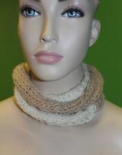 CANDELA NYC Short Knit Crochet 2-Tone Beige Infinity Scarf 100% Wool $155 NEW