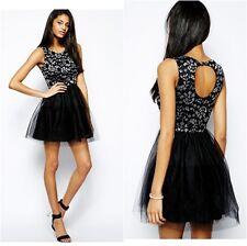 Paradis Lace Prom Dress Black  Boat Neck Tulle Skirt  UK Sizes 12, 14.