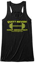 Quit Cuss Green - Quit? Never! Cuss? Absolutely! Bella Flowy Tank Tanktop