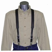 2nds Black Basket Weave Leather Suspenders with trigger scissor snaps no slip