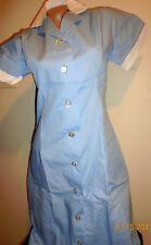 Women Collard Nurse Dress Princess Seam 2 Pocket Light Blue Size Small to 4X