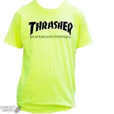 "THRASHER MAGAZINE ""Mag Logo - Neon"" Skateboard T-Shirt YELLOW S M or L Tee"