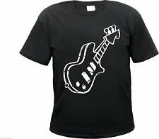 """T-Shirt """"Guitar"""" - black/white - retro rockabilly bass music ribbon air guitar"""