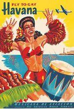 Vintage Mexican Airlines à Cuba La Havane gay Poster A3 imprimer