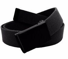 Men's Military Black Flip Top Buckle with Canvas Web Belt Hypoallergenic