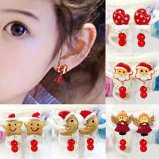 Lovely Girl Kids Lady Christmas Earrings Clip on No Ear Piercings Party Suppl JF