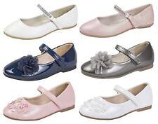 Girls Party Shoes Flower Diamante Ballet Pumps Adjustable Ballerinas Kids Size