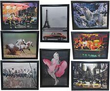 Lenticular 3-D Wall Pictures Famous Celebrities Elvis Marilyn Monroe Black Frame