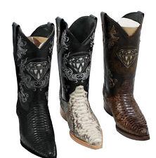 Men's genuine python snake skin cowboy boots western exotic biker 3X