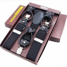 Man Leather Suspenders Button Brace Strap Fashion Box Adjustable Belt 3.5*120Cm