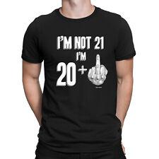 793747756 Mens Funny 21st Birthday T-Shirt NOT 21 IM 20 + 1 Middle Finger Rude