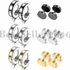 6 Pairs Punk Stainless Steel Men Women Small Huggie Hoop Ear Plugs Stud Earrings