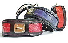 Bestia Reptile genuine leather dog collar. Handmade. padded. 2.5 inch wide!