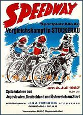 Motorcycle Racing Austria 1967 Speedway Stockerau Vintage Poster Print