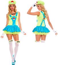 Womens Green Playful Plumber Luigi Super Mario Costume
