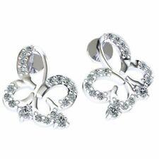 a965323eaacc 0.3carat Diamante Talla Redonda Mujer Mariposa Pendientes Sólido 14k Oro