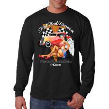 Hot Rat Rod Heaven Pin Up Girl Car Auto Racing Long Sleeve T-Shirt Tee