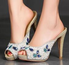 Womens Squins Rhinestone Mules Slip On High Heels Platform Sandals Wedding Shoes