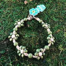 Flower Floral Anklet Wood Ankle Bracelet Hoti Hemp Handmade Natural Green White