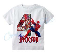 Spiderman Comic Superhero Custom T-shirt PERSONALIZE Birthday Choose NAME/AGE