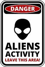 FUNNY Cartello Di Avvertimento Pericolo Alieno attività Autoadesivo Autoadesivo