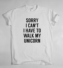 Désolé je ne peux pas je dois marcher mon licorne T-shirt en coton pour hommes et femmes
