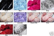 1 Yard Chiffon Rose Lace Trim Applique 3D Bridal Wedding Camellia Ruffled Flower