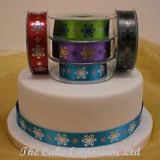 Snowflake Frozen Christmas Cake Celebration Ribbon 1.5 Metre or 1 Metre Bow Set