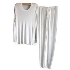 Men 100% Pure Silk T-shirt Top Long Johns Knitted Casual Crew Neck Shirts Soft