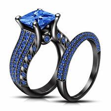 3.34 Ct Blue Princess Diamond Bridal Black Silver Engagement Ring