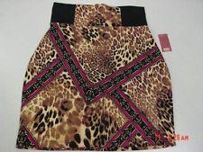 NWT Womens No Boundaries Neutral Print Zippered Skirt Body Con Ponte Browns