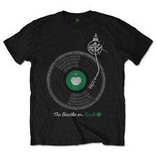 The Beatles Mens New T-Shirt Black RARE Apple Turntable 100% Cotton MD - 2XL