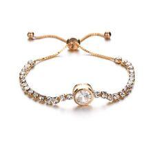 Adjustable Silver Rose Gold Tennis Cubic Zirconia Crystal Fashion Bracelet Gift