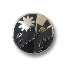 5 schwarz silberfb. Metall Knöpfe mit graphischen Muster / B-WARE (3546s)