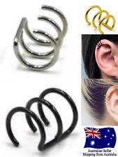 Surgical Steel PVD Triple Ring Ear Cuff Clip On Wrap Earrings No Piercing 1pc