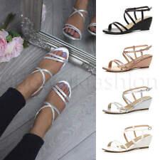 Womens ladies mid heel summer party wedding wedges crossed straps sandals size