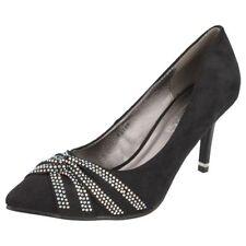 Spot On F9748 Ladies Black Microfibre Court Shoes