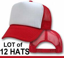 Wholesale Lot * 12 New RED Trucker Hats Blank Mesh Adjustable Snapback Foam CAP