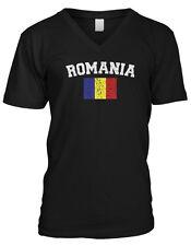 Romania Country Flag Romanian Pride Football Soccer  Mens V-neck T-shirt